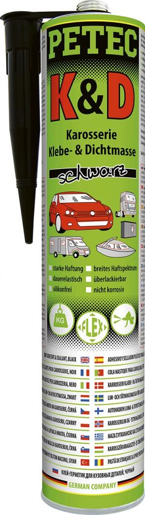 Petec K&D Karosserie Klebe- und Dichtmasse 310ml, schwarz